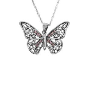 Jacobean Butterfly Silver Pendant with Amethyst colour stones 9883